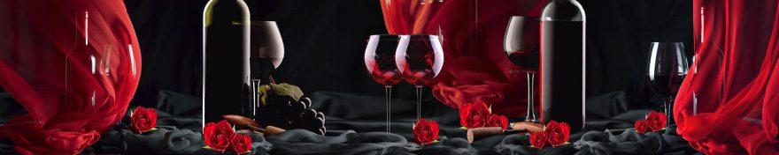 Изображение для стеклянного кухонного фартука, скинали: вино, бутылка, бокал, fartux553