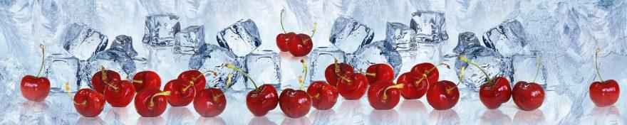 Изображение для стеклянного кухонного фартука, скинали: ягоды, вишня, лед, fartux554