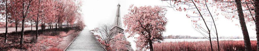 Изображение для стеклянного кухонного фартука, скинали: деревья, башня, париж, fartux555