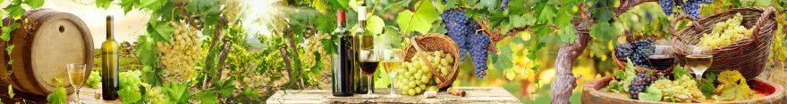 Изображение для стеклянного кухонного фартука, скинали: вино, бочка, виноград, бутылка, бокал, fartux556