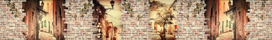 Изображение для стеклянного кухонного фартука, скинали: кирпич, улица, fartux558