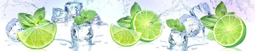 Изображение для стеклянного кухонного фартука, скинали: фрукты, лед, лайм, мята, fartux561