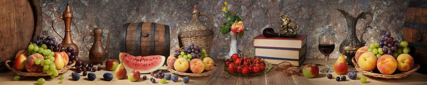 Изображение для стеклянного кухонного фартука, скинали: фрукты, ягоды, бочка, fartux563
