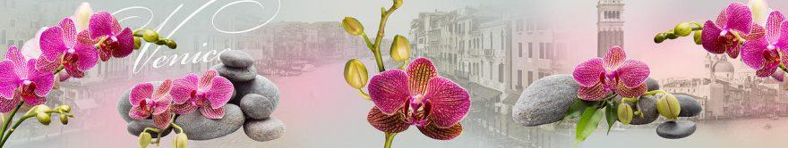 Изображение для стеклянного кухонного фартука, скинали: цветы, орхидеи, камни, италия, fartux565