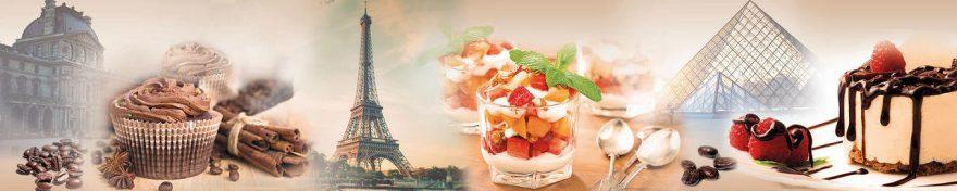 Изображение для стеклянного кухонного фартука, скинали: коллаж, еда, париж, fartux571