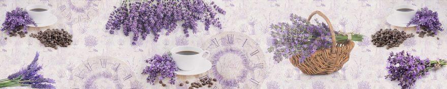 Изображение для стеклянного кухонного фартука, скинали: цветы, корзина, кружка, лаванда, fartux572