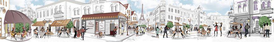 Изображение для стеклянного кухонного фартука, скинали: город, люди, улица, париж, fartux573