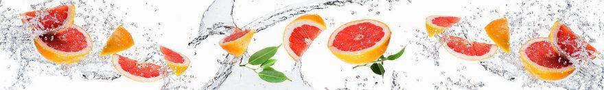 Изображение для стеклянного кухонного фартука, скинали: вода, фрукты, грейпфрут, fartux581