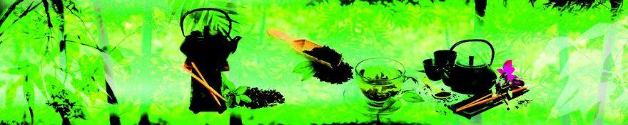 Изображение для стеклянного кухонного фартука, скинали: чай, кружка, чайники, fartux582