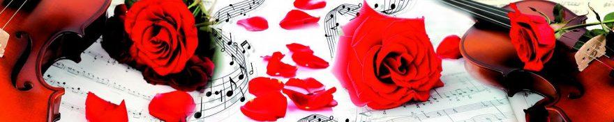 Изображение для стеклянного кухонного фартука, скинали: цветы, розы, ноты, fartux588