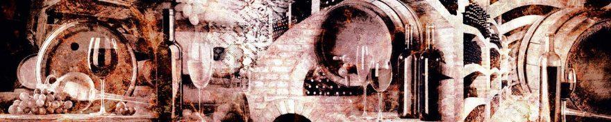 Изображение для стеклянного кухонного фартука, скинали: коллаж, вино, бочка, бутылка, бокал, fartux591