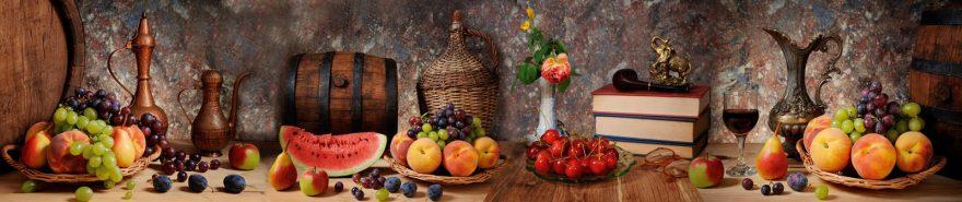 Изображение для стеклянного кухонного фартука, скинали: фрукты, ягоды, бочка, fartux602