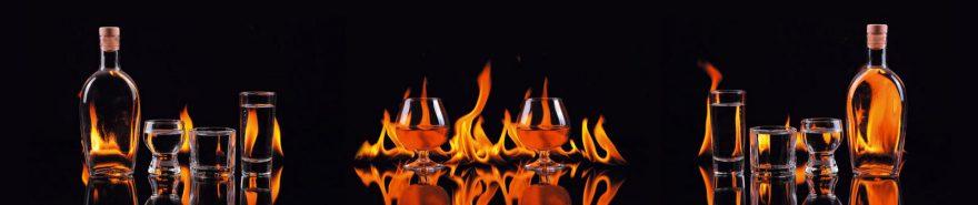 Изображение для стеклянного кухонного фартука, скинали: стаканы, бутылка, огонь, fartux613
