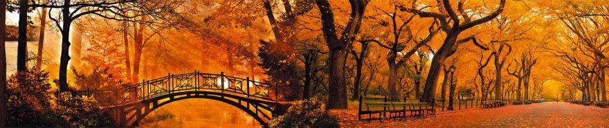 Изображение для стеклянного кухонного фартука, скинали: осень, мост, парк, fartux614