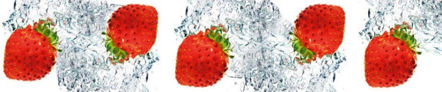 Изображение для стеклянного кухонного фартука, скинали: вода, ягоды, клубника, fartux619