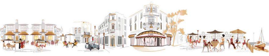 Изображение для стеклянного кухонного фартука, скинали: люди, улица, париж, fartux623