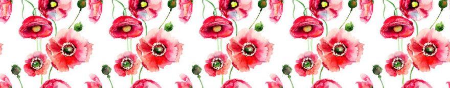 Изображение для стеклянного кухонного фартука, скинали: цветы, маки, fartux626
