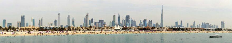 Изображение для стеклянного кухонного фартука, скинали: море, город, пляж, небоскребы, fartux657