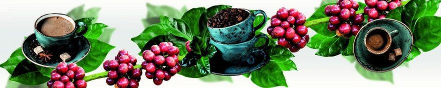 Изображение для стеклянного кухонного фартука, скинали: листья, посуда, кофе, ягоды, кружка, fartux663