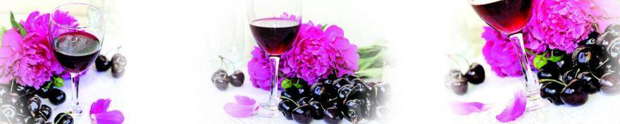 Изображение для стеклянного кухонного фартука, скинали: цветы, коллаж, ягоды, вишня, вино, бокал, fartux667