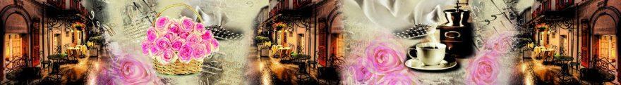 Изображение для стеклянного кухонного фартука, скинали: цветы, коллаж, улица, винтаж, fartux674