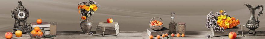 Изображение для стеклянного кухонного фартука, скинали: цветы, фрукты, книга, часы, fartux678