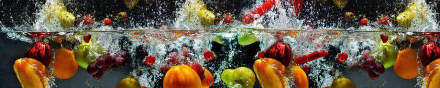 Изображение для стеклянного кухонного фартука, скинали: вода, фрукты, fartux679