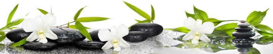 Изображение для стеклянного кухонного фартука, скинали: цветы, орхидеи, камни, fartux680