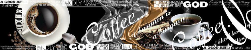 Изображение для стеклянного кухонного фартука, скинали: кофе, кружка, буквы, fartux684