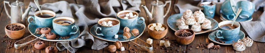 Изображение для стеклянного кухонного фартука, скинали: посуда, кофе, кружка, сладости, fartux686