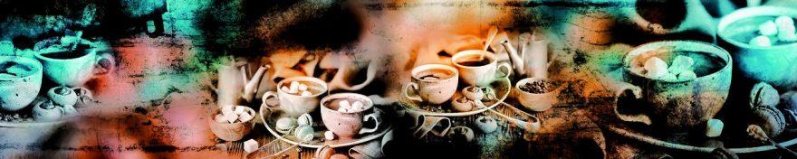 Изображение для стеклянного кухонного фартука, скинали: посуда, кофе, кружка, сладости, fartux687