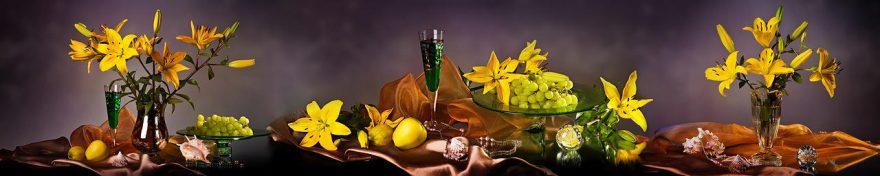 Изображение для стеклянного кухонного фартука, скинали: цветы, ваза, фрукты, лилии, fartux688
