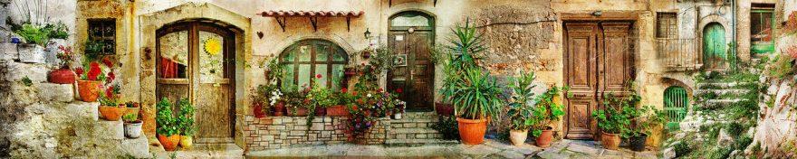 Изображение для стеклянного кухонного фартука, скинали: цветы, улица, италия, fartux691