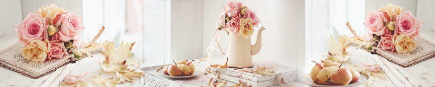 Изображение для стеклянного кухонного фартука, скинали: цветы, розы, чайники, книга, fartux692