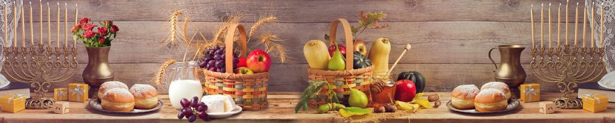 Изображение для стеклянного кухонного фартука, скинали: корзина, фрукты, еда, овощи, fartux698