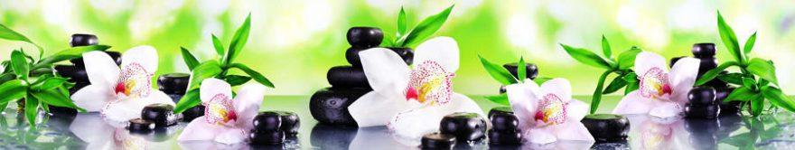 Изображение для стеклянного кухонного фартука, скинали: цветы, орхидеи, камни, fartux704