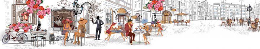 Изображение для стеклянного кухонного фартука, скинали: город, люди, улица, париж, fartux711