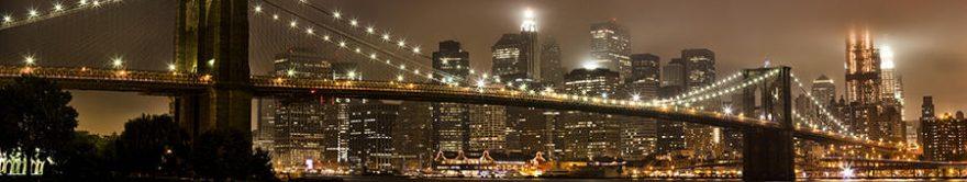 Изображение для стеклянного кухонного фартука, скинали: ночь, город, мост, небоскребы, fartux718