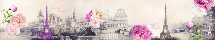 Изображение для стеклянного кухонного фартука, скинали: цветы, коллаж, город, пионы, париж, fartux723