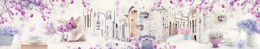 Изображение для стеклянного кухонного фартука, скинали: цветы, коллаж, улица, fartux726