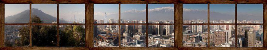 Изображение для стеклянного кухонного фартука, скинали: город, окно, fartux727