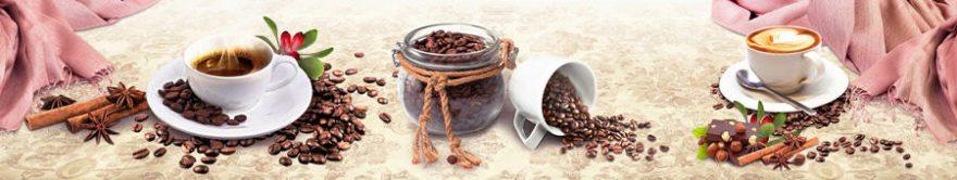 Изображение для стеклянного кухонного фартука, скинали: посуда, кофе, кружка, fartux729