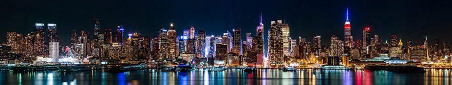 Изображение для стеклянного кухонного фартука, скинали: ночь, город, небоскребы, fartux736