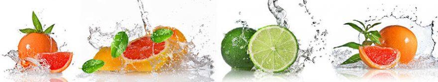 Изображение для стеклянного кухонного фартука, скинали: вода, фрукты, fartux739