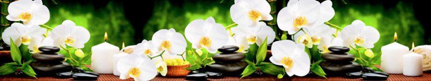 Изображение для стеклянного кухонного фартука, скинали: цветы, орхидеи, камни, спа, свечи, fartux745