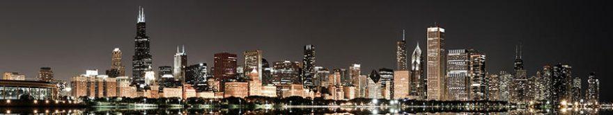 Изображение для стеклянного кухонного фартука, скинали: ночь, город, небоскребы, fartux762