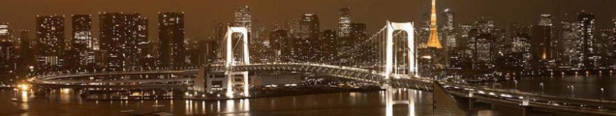 Изображение для стеклянного кухонного фартука, скинали: ночь, город, мост, небоскребы, fartux764