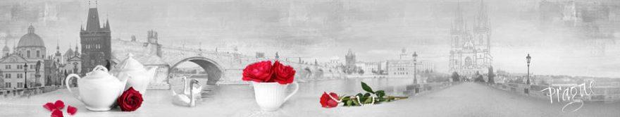 Изображение для стеклянного кухонного фартука, скинали: цветы, розы, посуда, город, архитектура, fartux768