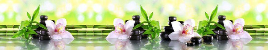 Изображение для стеклянного кухонного фартука, скинали: цветы, бамбук, орхидеи, камни, спа, fartux772