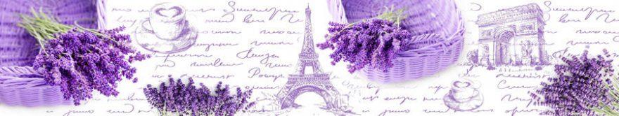 Изображение для стеклянного кухонного фартука, скинали: цветы, коллаж, корзина, лаванда, париж, fartux774